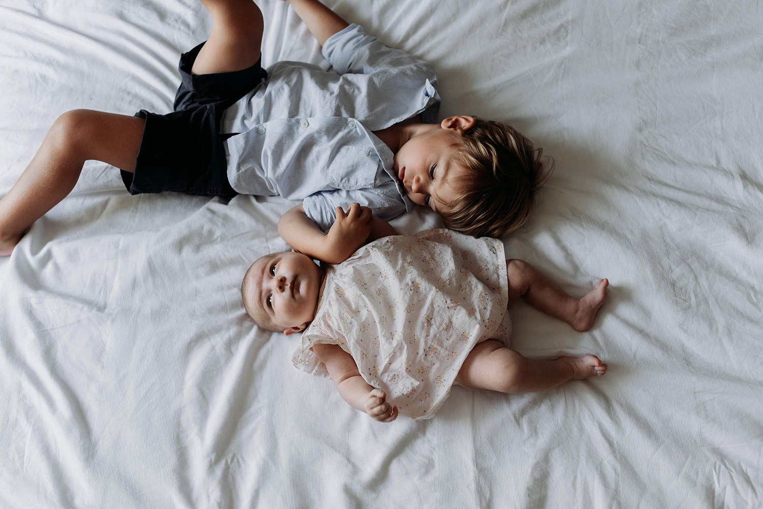 Baby girl with her big brother
